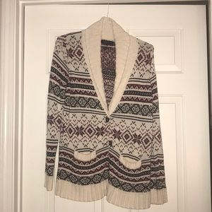 Red Black Fair Isle Pattern Cardigan - Forever 21